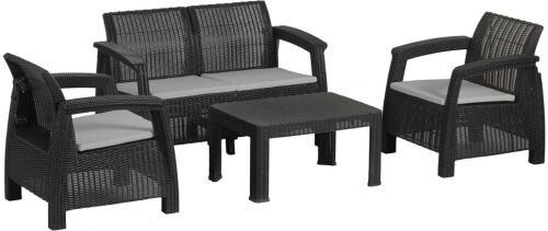 Salon fauteuils, canapé et table basse imitation rotin