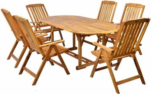 Salon de jardin table en acacia 6 places luxe